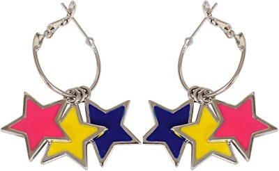 Crunchy Fashion Shine Like A Star Red Yellow Alloy Hoop Earring