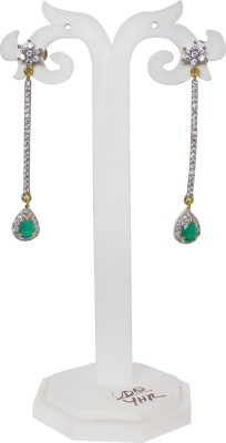 Jewelgrab Dancing Long Blue Emerald Alloy Drop Earring