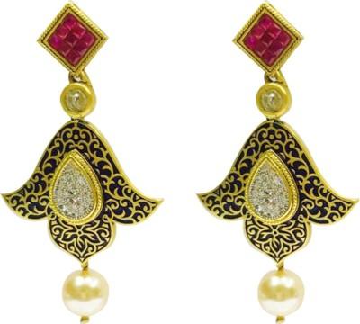 RK Style Sparkle Designer Brass Drop Earring