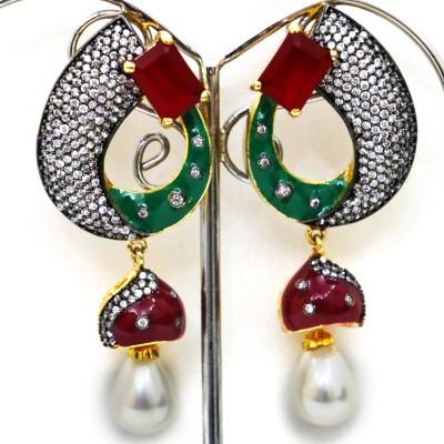 yash creations AD001 Ruby Metal Drop Earring