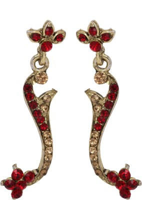 Maisha Red and gold stones Alloy Drop Earring