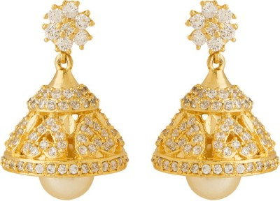 Voylla Artificial Classic Embellished Cubic Zirconia Brass Jhumki Earring at flipkart