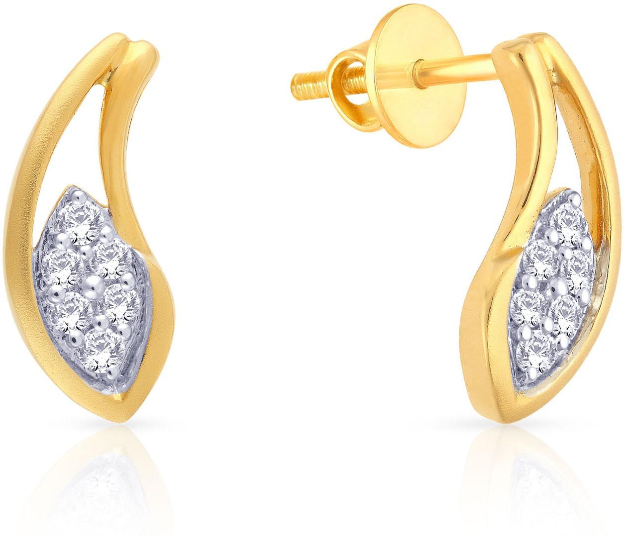 7991e1fcdcd64 Malabar Gold and Diamonds E72789 Yellow Gold 18kt Diamond Stud Earring