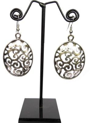 GiftPiper Engraved German Silver Turkish Earrings- Oval Shape 2 German Silver Earring Set