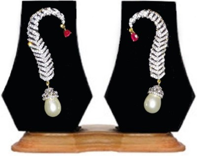 Heena Jewellery Changeable Stone Studded Pearl Hanging Cubic Zirconia Brass Cuff Earring
