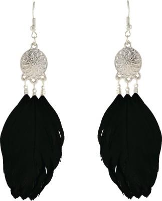 Aaishwarya Classic Black Feather Alloy Dangle Earring