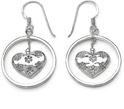 Johareez Motif Cubic Zirconia Sterling Silver Dangle Earring