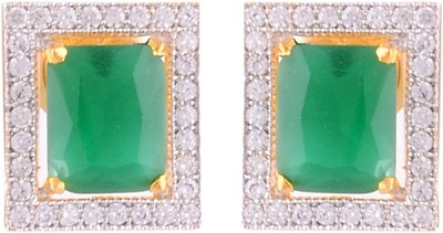 Affinity Jewellers Affinity Emerald Green Rectangular Shaped Tops With CZ stones Cubic Zirconia Alloy Stud Earring