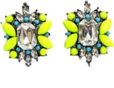 GiftPiper Antique Stone Studs Earrings- Fingerprin Yellow Alloy Earring Set