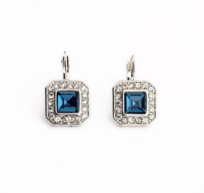 femnmas Gemstone Square Crystal Zinc Clip-on Earring