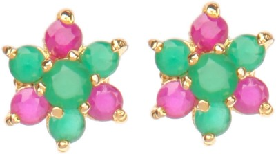 Crimson21 Artificial Ethnic Green and Pink Alloy Stud Earring