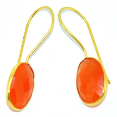 Casa De Plata Oval Orange Carnelian Brass Earring Carnelian Brass Dangle Earring