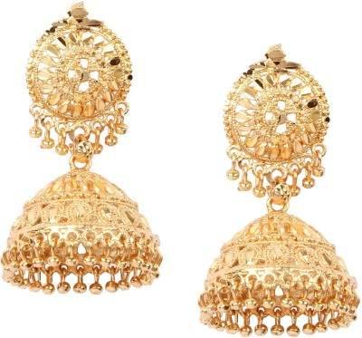 Giftmania Golden Sparkle Brass Jhumki Earring