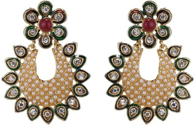 Sale Funda Ethnic er0018 Pearl, Crystal, Ruby Alloy Chandbali Earring