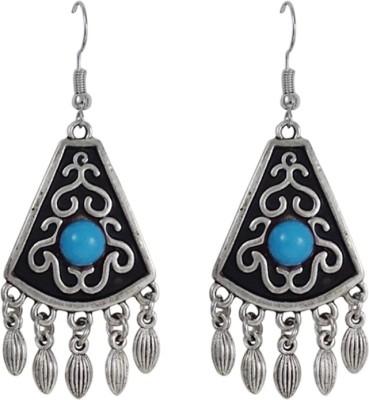 Gems N Pearls Oxidized Silver Plated German Silver Dangle Earring