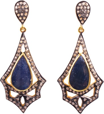My DT Lifestyle Victorian Style Sapphire Yellow Gold Drop Earring