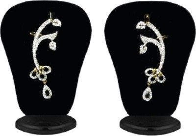 Heena Jewellery Black marquise stone studded floral Cubic Zirconia Brass Cuff Earring