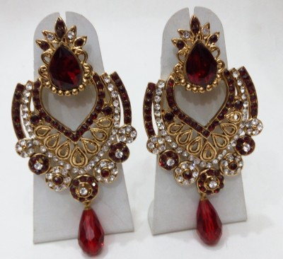 Womaniya maroon floral beauty Alloy Chandelier Earring
