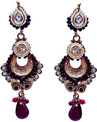 Kundaan Polki Pair Crystal Brass, Copper Chandelier Earring