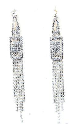 WoW Silver Cubiz Zirconia Crystal Tassel Earring