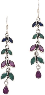 Watch Me Bewitching Branch Colourful Earrings Ruby, Emerald, Sapphire Sterling Silver Dangle Earring