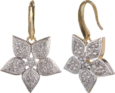 SAADGI Beautiful American Diamond Cubic Zirconia, White Zircon, Zircon Brass Dangle Earring