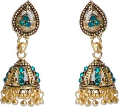 I Dream Works Sea Green Brass Jhumki Earring