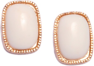 Trinklets Chic White Oversized Metal, Acrylic Stud Earring