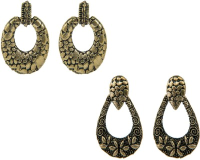 Pankh 2 Pair Earrings Set Combo Brass Chandbali Earring