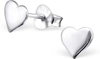 Maayin Plain Heart - Silver Sterling Silver Stud Earring