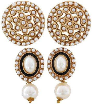 Maayra Pair of Crystal Brass Earring Set