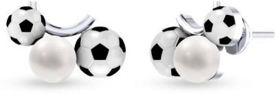 VelvetCase Football Fever Enamel Earrings Silver Stud Earring