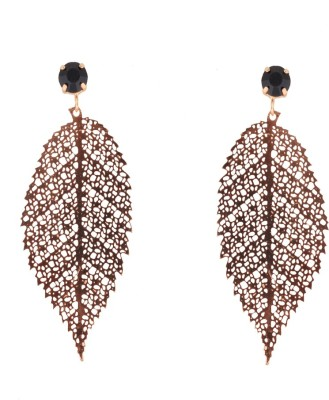 Sankisho Beauty Hanging Casting Leaf Metal, Glass, Alloy Drop Earring