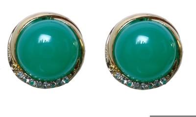 Modish Look Green Pearl Design Brass Stud Earring