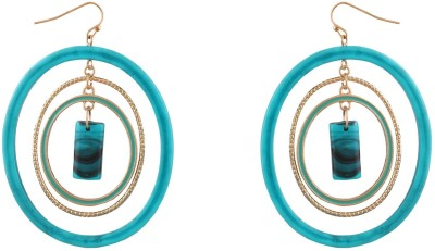 Fabula Gold & Turquoise Traditional Ethnic Jewellery for Women, Girls & Ladies Metal Dangle Earring