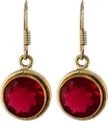 Silver Kreations Red Natural Quartz, Crystal Nickel Drop Earring