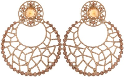 Grandiose Filigree Antique Rhodium Copper Chandbali Earring