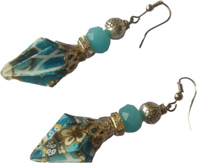 Origami Noshi Sliver Cyan Pinecone Paper Dangle Earring