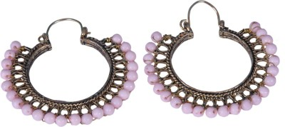 Paridhi Jewels fashion pink color Bali Brass Hoop Earring