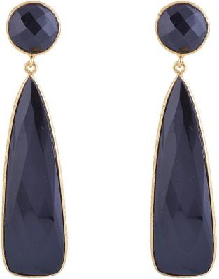 Jewel Paradise Onyx Brass Drop Earring