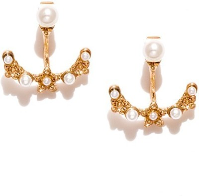 Fabula Two-in-One Gold & White Pearl Traditional Ethnic Jewellery Drop for Women & Girls Metal Stud Earring