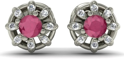R S Jewels Creative Designs White Gold 18kt Diamond, Ruby Stud Earring