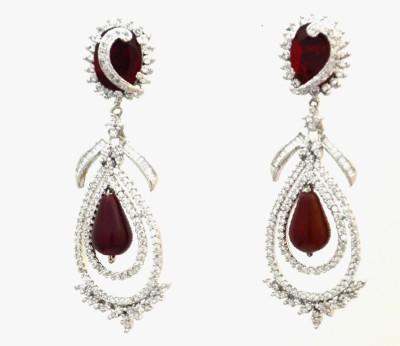 Dilan Jewels Ear Dangles Cubic Zirconia Silver Chandelier Earring