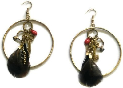 Oomph Gold, Brown & Red Feather & Charm Fashion Jewellery Drop for Women, Girls & Ladies Metal Dangle Earring
