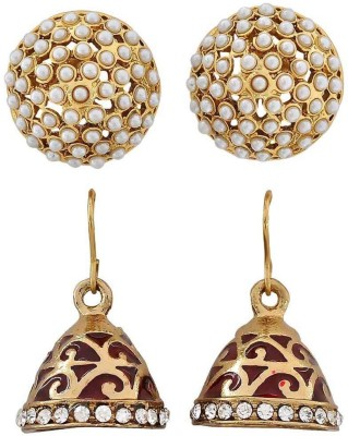 Maayra Pair of Indian Ethnic Crystal Brass Earring Set
