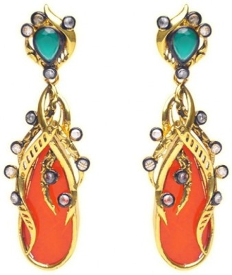 Jillcart Gold Plated Stylish Earring with Red and Green Stone Ruby Copper Dangle Earring
