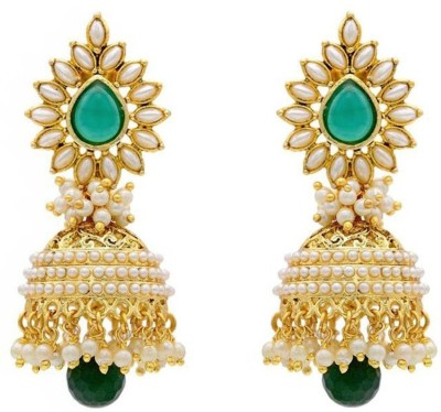 Crunchy Fashion Glorious Pearly Fresh Glamour Jhumka Brass Jhumki Earring
