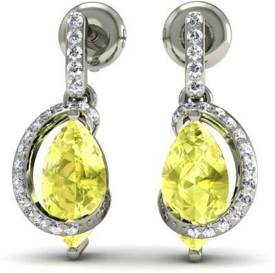 R S Jewels Creative Designs White Gold 18kt Diamond, Quartz Drop Earring
