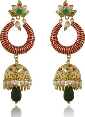 Gems N Pearls Jadau Filigree Brass Chandelier Earring