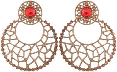 Grandiose Filigree Antique Rhodium Red Copper Chandbali Earring